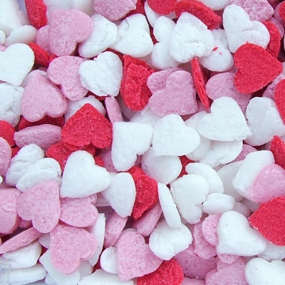 Red, White and Pink Confetti Hearts